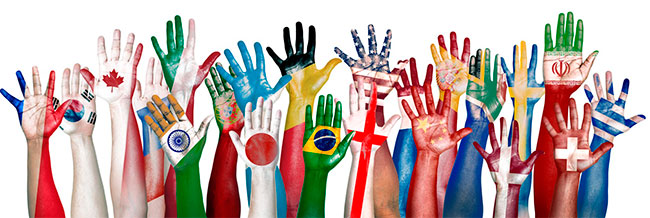Hand-with-flags